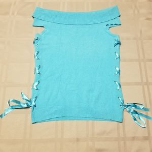 Kenzie sleeveless top with cowl neck/side ribbons